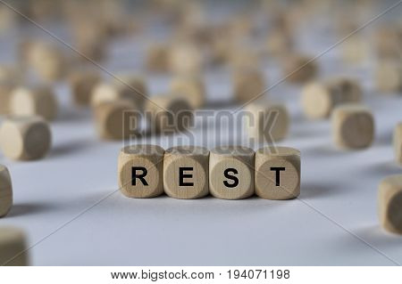 Rest - Cube With Letters, Sign With Wooden Cubes