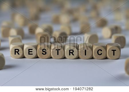 Restrict - Cube With Letters, Sign With Wooden Cubes