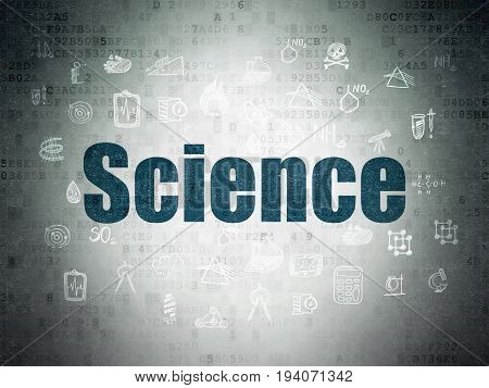 Science concept: Painted blue text Science on Digital Data Paper background with  Hand Drawn Science Icons