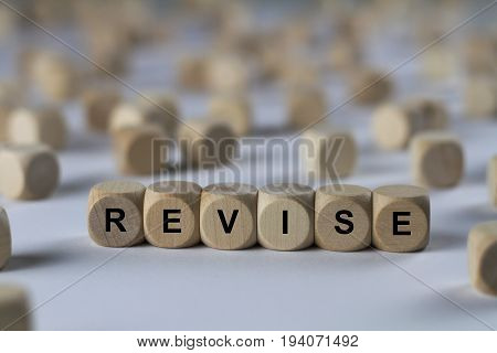 Revise - Cube With Letters, Sign With Wooden Cubes