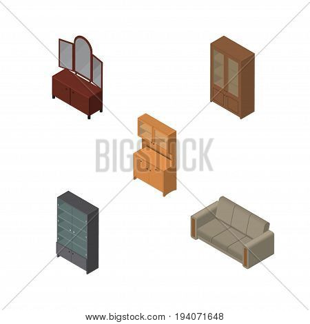 Isometric Furnishing Set Of Couch, Cabinet, Drawer And Other Vector Objects. Also Includes Couch, Closet, Sideboard Elements.