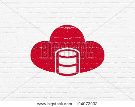 Cloud technology concept: Painted red Database With Cloud icon on White Brick wall background