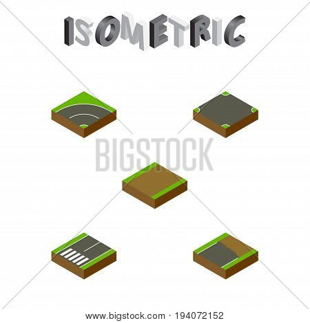 Isometric Road Set Of Footpath, Bitumen, Crossroad And Other Vector Objects. Also Includes Footer, Footpassenger, Asphalt Elements.