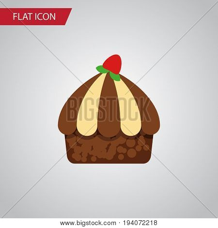 Isolated Muffin Flat Icon. Cupcake Vector Element Can Be Used For Cupcake, Muffin, Dessert Design Concept.