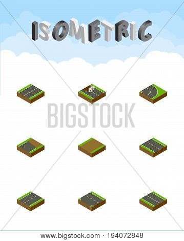 Isometric Road Set Of Unfinished, Downward, Driveway And Other Vector Objects. Also Includes Down, Road, Footpath Elements.