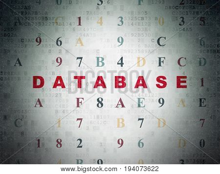 Database concept: Painted red text Database on Digital Data Paper background with Hexadecimal Code