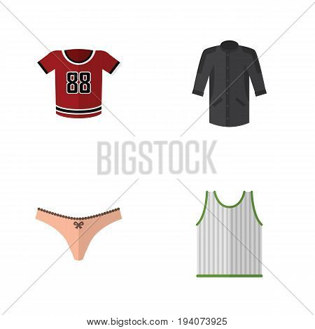 Flat Icon Dress Set Of Singlet, Uniform, T-Shirt And Other Vector Objects. Also Includes Tank, Panties, Sleeveless Elements.