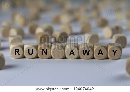 Run Away - Cube With Letters, Sign With Wooden Cubes