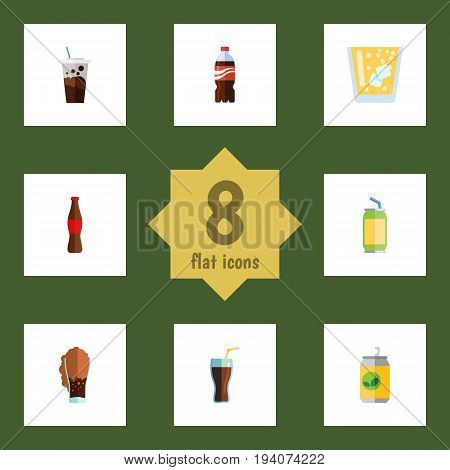 Flat Icon Soda Set Of Carbonated, Cola, Soda And Other Vector Objects. Also Includes Cola, Bottle, Soda Elements.