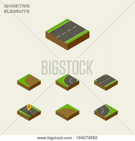 Isometric Road Set Of Upwards, Way, Asphalt And Other Vector Objects. Also Includes Road, Navigation, Bitumen Elements.