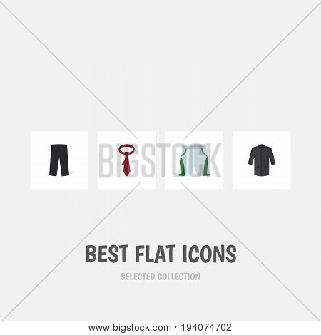 Flat Icon Clothes Set Of Trunks Cloth, Pants, Cravat And Other Vector Objects. Also Includes Kimono, Clothes, Pants Elements.