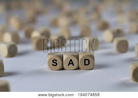 Sad - Cube With Letters, Sign With Wooden Cubes