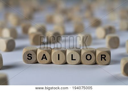 Sailor - Cube With Letters, Sign With Wooden Cubes