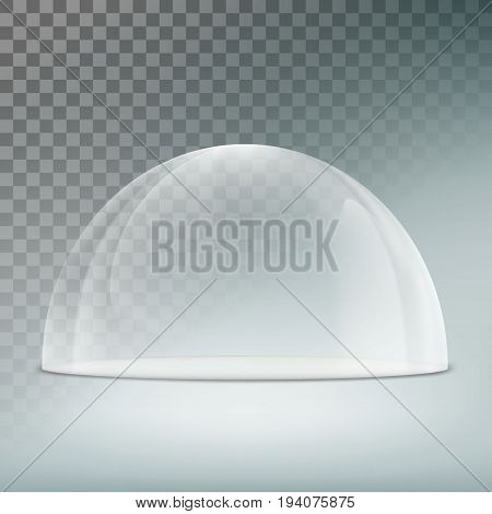 Glass dome on a transparent background. Template mock-up for exhibition, advertising and presentation. Stock vector illustration.