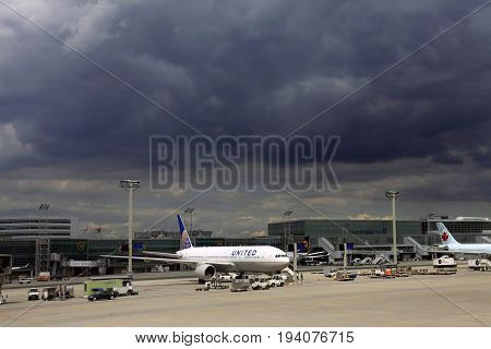 Frankfurt Germany - September 13 2013: Airplanes of different airlines at the Internmational Airport Frankfurt am Main Germany.