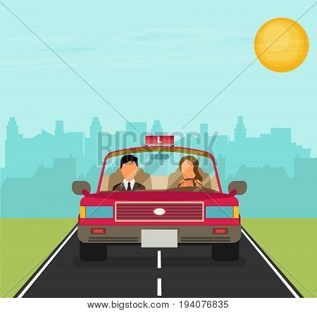 Flat Design Concept Of Driving School With Car, Woman, Instructor.