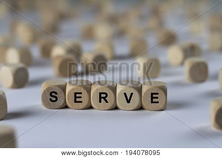 Serve - Cube With Letters, Sign With Wooden Cubes