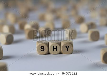 Shy - Cube With Letters, Sign With Wooden Cubes
