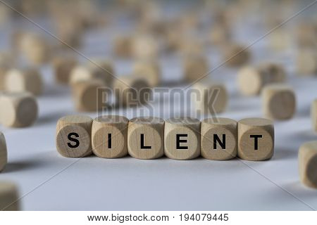 Silent - Cube With Letters, Sign With Wooden Cubes