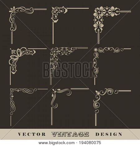 Abstract corner pattern. Set of vintage vector calligraphic linear corners for retro frames
