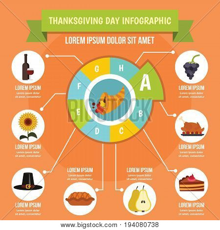 Thanksgiving Day infographic banner concept. Flat illustration of Thanksgiving Day infographic vector poster concept for web