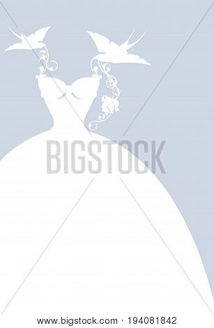 elegant wedding dress among birds and flowers - simple white silhouette vector design