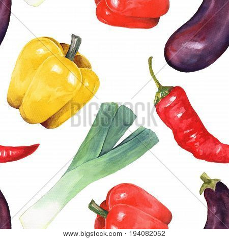 Watercolor vegetables. Hand drawn seamless pattern
