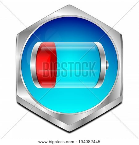 blue red Battery Button - 3D illustration