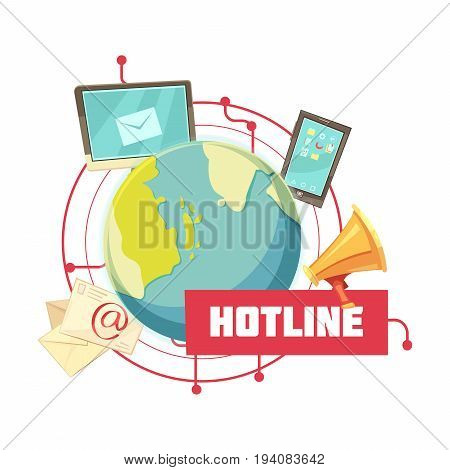 Hotline retro cartoon design with email computer mobile device megaphone around globe on white background vector illustration