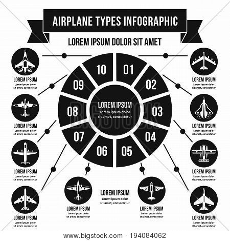 Airplane types infographic banner concept. Simple illustration of airplane types infographic vector poster concept for web