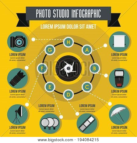 Photo studio infographic banner concept. Flat illustration of photo studio infographic vector poster concept for web