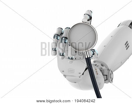 3d rendering robot hand or cyborg hand holding stethoscope