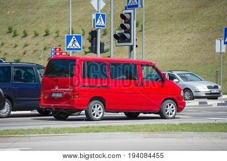 VILNIUS, LITHUANIA - JULY 6, 2017: VW Multivan T4. The Volkswagen Transporter (T4) is a van produced by the German manufacturer Volkswagen Commercial Vehicles.