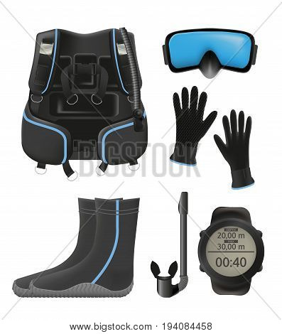 Equipment for diving. Scuba gear and accessories 02. Boties, snorkel and mask, fins, dive computer, buoyancy compensator isolated on white background