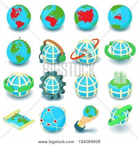 Globalization icons set. Cartoon illustration of 16 globalization vector icons for web