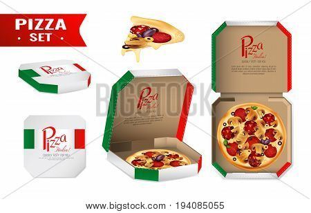 Realistic set with pizza for sale in cardboard box in colors of italian flag isolated vector illustration