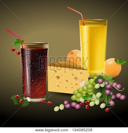 Fresh orange and cherry juice in a glass with fruits. Fresh orange cherry grapes and piece of cheese. Vector illustration