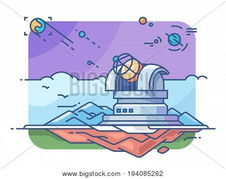Observatory with telescope for exploring planets and searching for extraterrestrial civilizations. Vector illustration