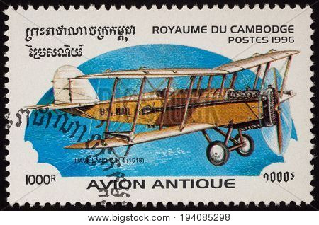 Moscow Russia - July 04 2017: A stamp printed in Cambodia shows English airplane De Havilland D.H.4. (1918) series