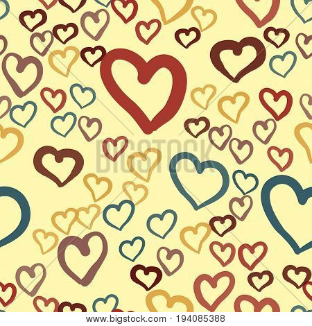 Hand drawn hearts seamless vector tile. Valentines day background. Flat design endless chaotic texture made of tiny heart silhouettes on yellow.