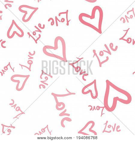Romantic seamless pattern with hearts and world Love. Valentines day decoration texture. Love concept warping paper. Wedding invitation wallpaper tile
