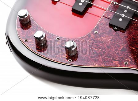 Metallic Volume Treble Guitar Bass Knobs. Electric Guitar. Red Electric Bass Guitar Close-up. Musica