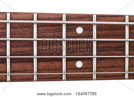 Metallic volume treble guitar bass knobs. Electric guitar. Red electric bass guitar close-up. Musical instrument. Music. Four strings. Grif.