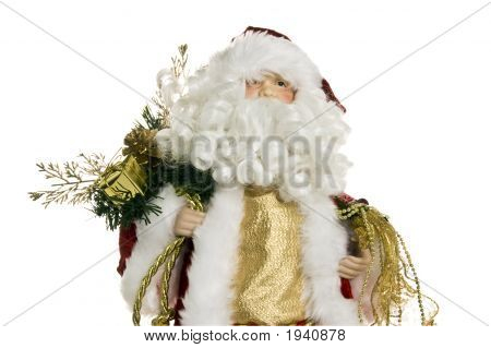 Santa Claus Figure Close On White Background