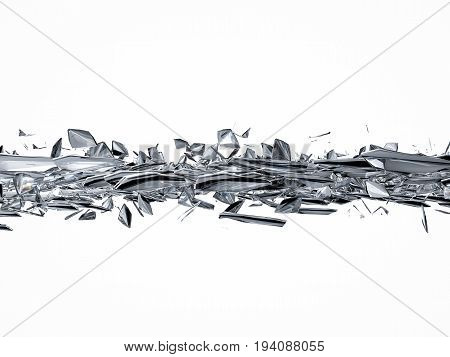 3d rendering pieces of broken glass on white background