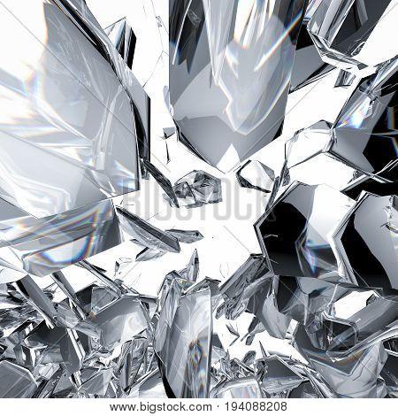 3d rendering sparkling diamond refraction on white  background