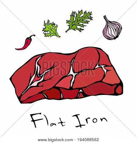 Flat Iron Steak Cut Vector Isolated On White Background.