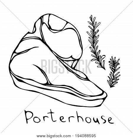 Porterhouse Steak Cut Vector Isolated On White Background. Outline.