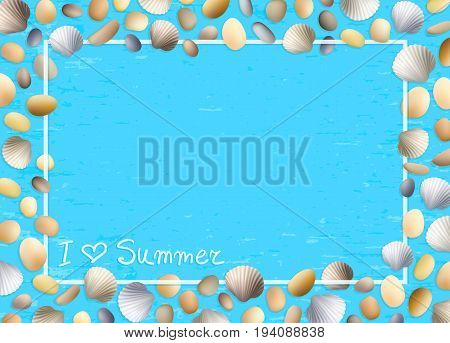 Shells frame. Love summer. Blue grunge background. Stones and seashells vector. Ocean or sea poster. Travel illustration. Tropical beach vacation.