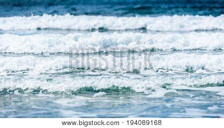 Big Surfing Ocean Sea Waves On Sandy Beach.